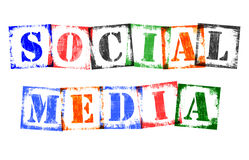 Word Social Media from Stamp Letters, Retro Grunge Design Stock Photos