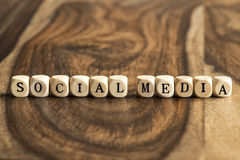 Word SOCIAL MEDIA on wooden cubes Royalty Free Stock Images