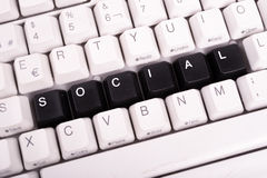 Word Social written with black keys on computer Royalty Free Stock Photo