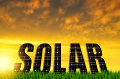 The word Solar from solar energy panels Royalty Free Stock Photography