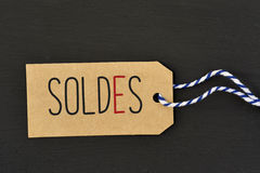 Word soldes, sale in french, in a label Royalty Free Stock Photos