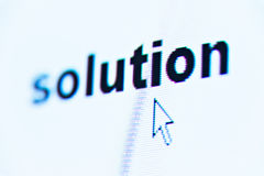 Word solution. On screen with cursor Stock Photo
