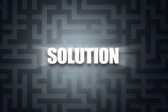 Word of Solution on Dark Maze Royalty Free Stock Photo
