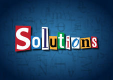 The word Solutions made from cutout letters. On a blue background Stock Photo