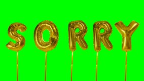 Word sorry from helium golden balloon letters floating on green screen -. Word sorry from helium golden balloon letters floating on green screen stock footage