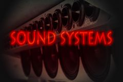 Sound system. The word `sound system` in red letters on the background of car acoustics, automotive music devices royalty free stock images