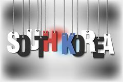 The word South Korea hang on the ropes Stock Images