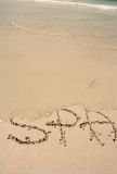 Word SPA on the beach Stock Photography