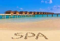 Word Spa on beach Royalty Free Stock Photos