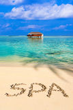 Word Spa on beach Stock Photo
