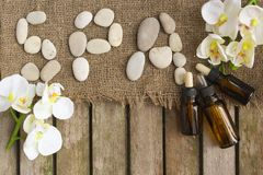 The word spa done with river pebbles. Background Stock Photo