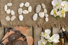 The word spa done with river pebbles. Background Royalty Free Stock Photos