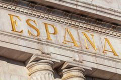 Word Spain in Spanish stock photo