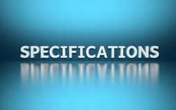 Word specificaitions pn blue background royalty free illustration