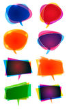 Word Speech Balloons. A set of colourful round and angled word balloons Royalty Free Stock Photo