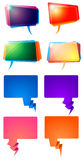 Word Speech Balloons. A set of colourful angled word balloons Royalty Free Stock Photo