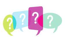 Word or Speech Bubbles with Question Marks Stock Images