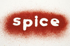 Word Spice Written in Tandoori masala Stock Photo