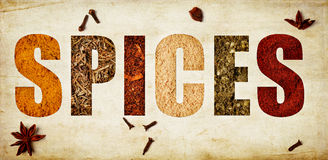 The word spices Royalty Free Stock Photo
