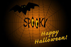 Word spooky in the middle of a spider web, with a scary bat Stock Image