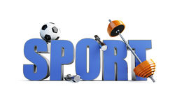 Word sports. (barbell, bob, soccer ball Royalty Free Stock Images