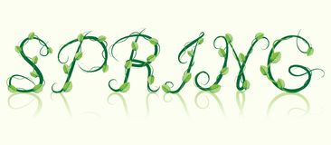 Word spring. Branch With Green Foliage Stock Photo