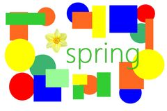 Word spring with colorful shapes and flower royalty free stock photos