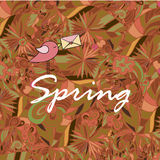 Word Spring in doodle style with a bird. Vector illustration. Royalty Free Stock Image