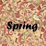 Word Spring in doodle style with a bird. Vector illustration. Royalty Free Stock Photography