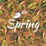 Word Spring in doodle style with a bird. Vector illustration. Seasonal greeting card Royalty Free Illustration