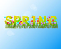 Word spring with flowers and grass against the sky. Vector illustration Royalty Free Stock Photo