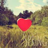 Word spring and heart-shaped balloon in a country landscape, wit Stock Photography