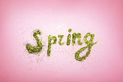 Free Word SPRING Made Of Greenery Glitter Stock Photos - 88423863