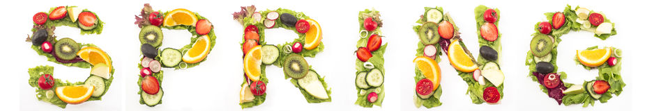 Word Spring Made of Salad and Fruits Royalty Free Stock Image
