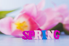 Word Spring made from wooden letters on tender floral background Stock Photo