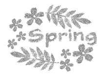 Word Spring and nice frame of leaves and flowers of silver glitter on white background Stock Image