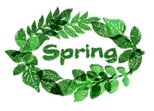 Word Spring and nice frame of leaves of green glitter sparkles on white background Stock Photo
