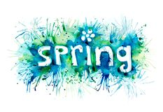 Word spring painted watercolor. The word spring painted watercolor paint on paper Stock Image