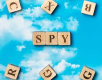The word spy. On the sky background Stock Image