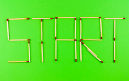 Word Start made of matchsticks Royalty Free Stock Images