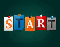 The word Start made from newspaper letters attached to a blackboard or noticeboard with magnets. Vector. The word Start made from newspaper letters attached to Stock Images