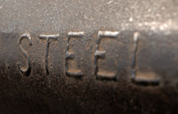 Word steel, embossed Stock Images