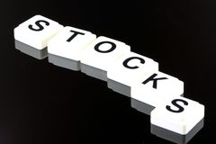 The Word Stocks - A Term Used For Business in Finance and Stock Market Trading Royalty Free Stock Photo
