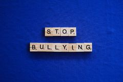 Stop bullying on isolated background stock photo