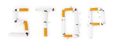 Word Stop made of broken cigarettes Royalty Free Stock Photography