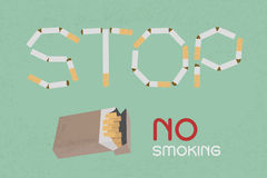 Word Stop made of cigaret stubs Stock Photos
