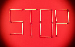 Word Stop made of matchsticks Stock Photography