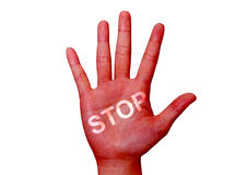 Word stop painted on the red colored handisolated red colored ha Stock Photo