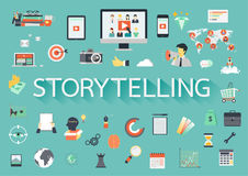 The word STORYTELLING with ling shadow surrounded by concerning flat icons. Vector illustration Royalty Free Stock Photo