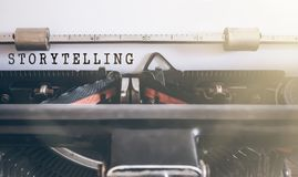 STORYTELLING written on vintage manual typewriter. Word STORYTELLING written on vintage manual typewriter Stock Photos